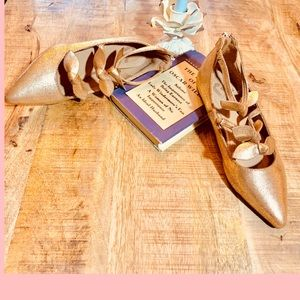 ROSE GOLD FLATS POINTED TOE TEXTURED VEGAN LEATHER